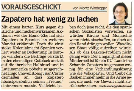 Windegger: Vorausgeschickt.