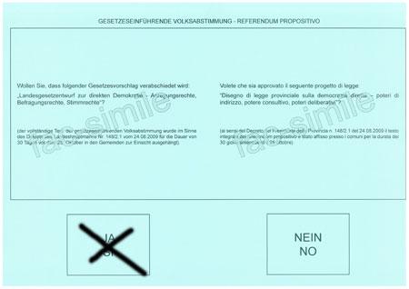 Hellblauer Stimmzettel.