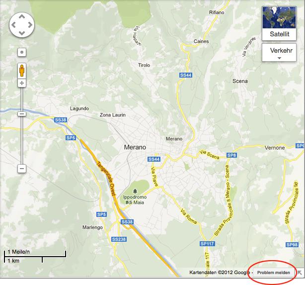 Google Maps: Problem melden.