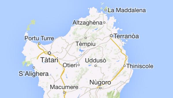 Google Maps: Sardigna.