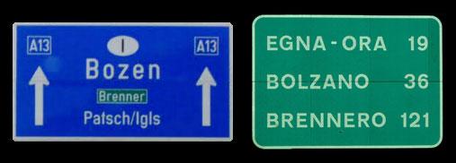 Autobahnschilder Vergleich.