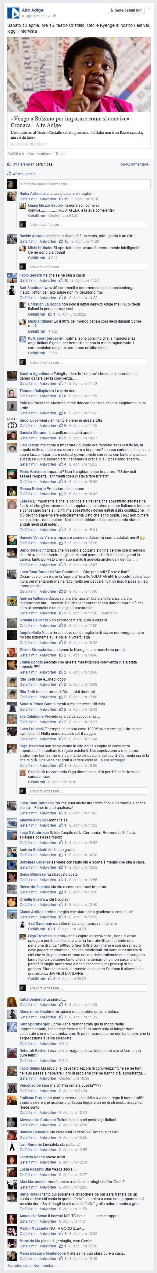 Facebook-Wall A.A.