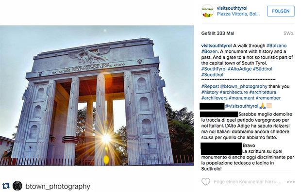 SMG: Instagram/Siegesdenkmal Bozen.