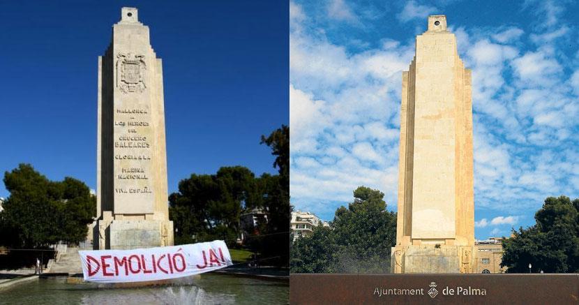 Monument vor und nach seiner Entschärfung. (Quelle: dbalears und arabalears).