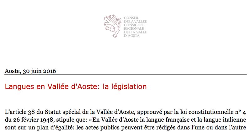 Langues en Vallée d'Aoste.