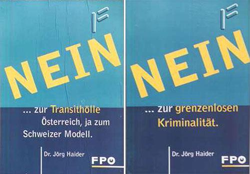 Plakate der FPÖ zur EU-Volksabstimmung 1994
