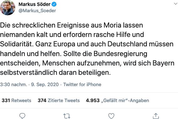 Die schrecklichen Ereignisse aus Moria lassen niemanden kalt und erfordern rasche Hilfe und Solidarität. Ganz Europa und auch Deutschland müssen handeln und helfen. Sollte die Bundesregierung entscheiden, Menschen aufzunehmen, wird sich Bayern selbstverständlich daran beteiligen.